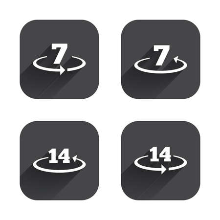 weeks: Return of goods within 7 or 14 days icons. Warranty 2 weeks exchange symbols. Square flat buttons with long shadow.