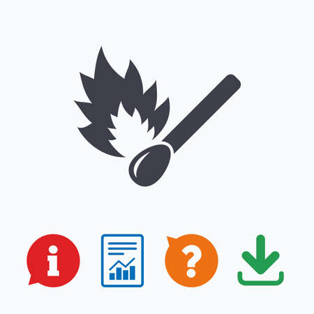 burns: Match stick burns icon. Burning matchstick sign. Fire symbol. Information think bubble, question mark, download and report.