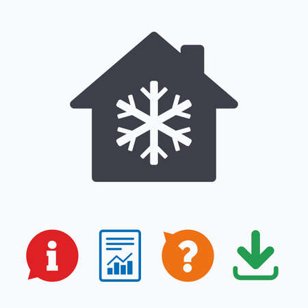 indoors: Air conditioning indoors icon. Snowflake sign. Information think bubble, question mark, download and report.