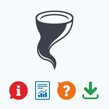 hurricane disaster: Storm sign icon. Gale hurricane symbol. Destruction and disaster from wind. Insurance symbol. Information think bubble, question mark, download and report. Illustration
