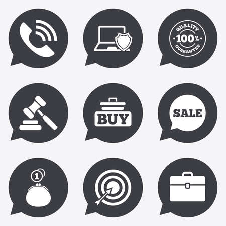 e auction: Online shopping, e-commerce and business icons. Auction, phone call and sale signs. Cash money, case and target symbols. Flat icons in speech bubble pointers.