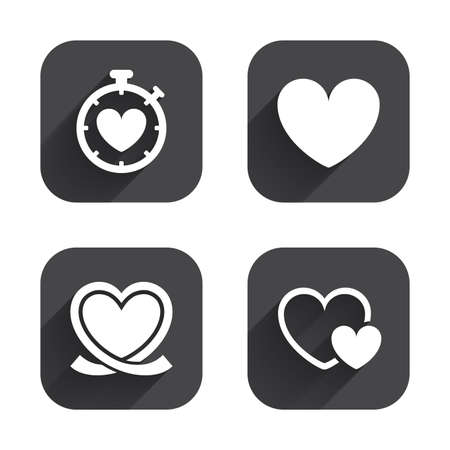 palpitation: Heart ribbon icon. Timer stopwatch symbol. Love and Heartbeat palpitation signs. Square flat buttons with long shadow. Illustration