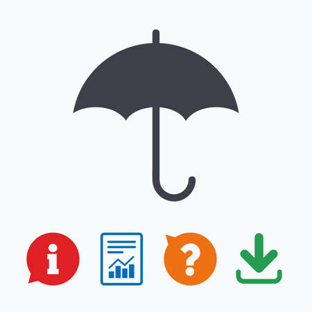 quality questions: Umbrella sign icon. Rain protection symbol. Information think bubble, question mark, download and report.