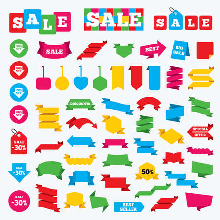 50 to 60: Web stickers, banners and labels. Sale arrow tag icons. Discount special offer symbols. 50%, 60%, 70% and 80% percent off signs. Price tags set. Illustration