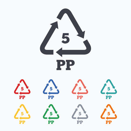 thermoplastic: PP 5 icon. Polypropylene thermoplastic polymer sign. Recycling symbol. Colored flat icons on white background.