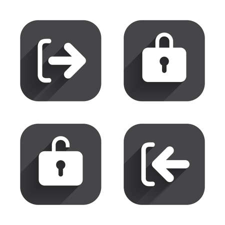 sign out: Login and Logout icons. Sign in or Sign out symbols. Lock icon. Square flat buttons with long shadow. Illustration