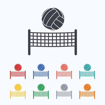 volleyball net: Volleyball net with ball sign icon. Beach sport symbol. Colored flat icons on white background. Illustration