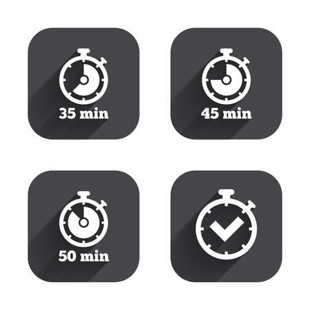 45 50: Timer icons. 35, 45 and 50 minutes stopwatch symbols. Check or Tick mark. Square flat buttons with long shadow.