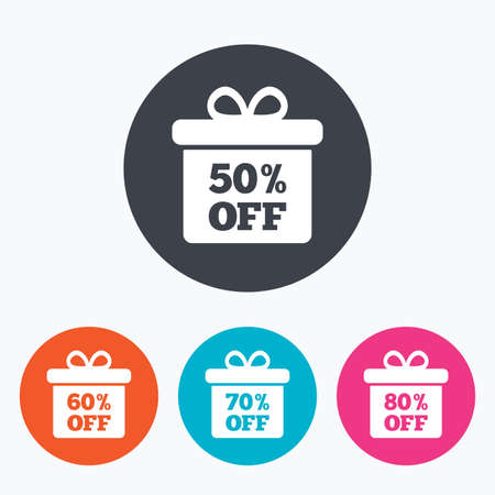 60 70: Sale gift box tag icons. Discount special offer symbols. 50%, 60%, 70% and 80% percent off signs. Circle flat buttons with icon.