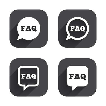 inform information: FAQ information icons. Help speech bubbles symbols. Circle and square talk signs. Square flat buttons with long shadow. Illustration
