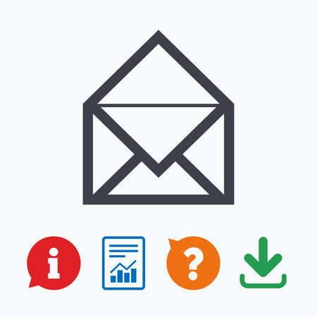 navigation mark: Mail icon. Envelope symbol. Message sign. Mail navigation button. Information think bubble, question mark, download and report.