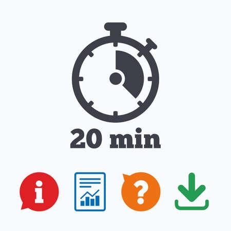 타이머 기호 아이콘입니다. 20 분 스톱 워치 심볼. 정보는 거품, 물음표, 다운로드 및보고를 생각합니다.