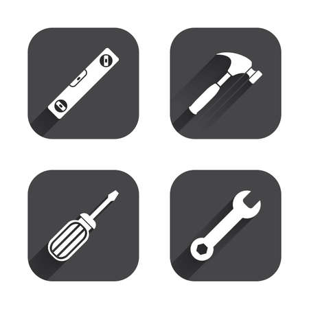 screwdriver: Screwdriver and wrench key tool icons. Bubble level and hammer sign symbols. Square flat buttons with long shadow. Illustration
