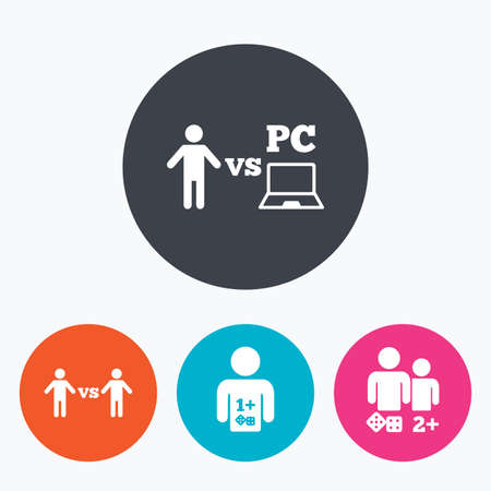 vs: Gamer icons. Board and PC games players signs. Player vs PC symbol. Circle flat buttons with icon.