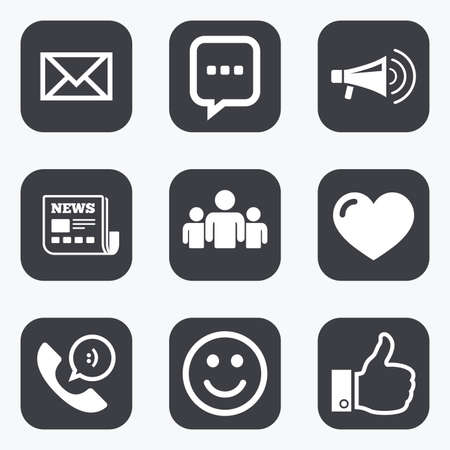 envelope icon: Mail, news icons. Conference, like and group signs. E-mail, chat message and phone call symbols. Flat square buttons with rounded corners.
