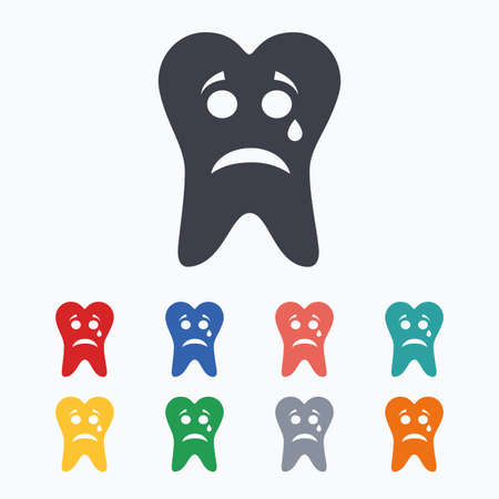 aching: Tooth sad face with tear sign icon. Aching tooth symbol. Unhealthy teeth. Colored flat icons on white background.