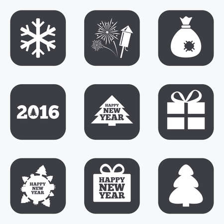 salut: Christmas, new year icons. Gift box, fireworks and snowflake signs. Santa bag, salut and rocket symbols. Flat square buttons with rounded corners.