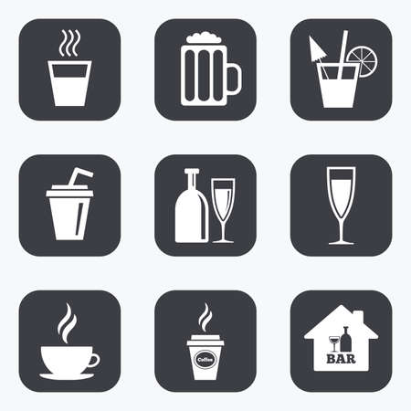 coke: Cocktail, beer icons. Coffee and tea drinks. Soft and alcohol drinks symbols. Flat square buttons with rounded corners.