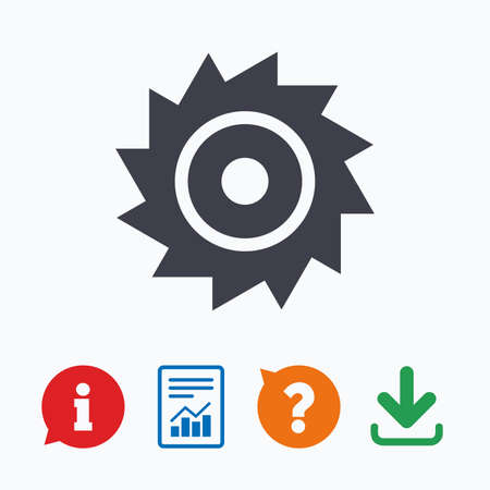 cutting blade: Saw circular wheel sign icon. Cutting blade symbol. Information think bubble, question mark, download and report.