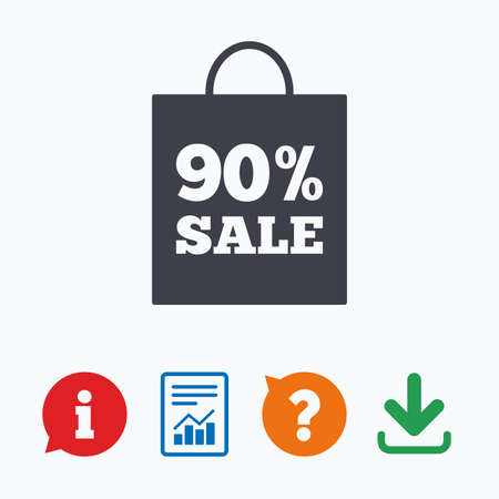 shopping questions: 90% sale bag tag sign icon. Discount symbol. Special offer label. Information think bubble, question mark, download and report. Illustration
