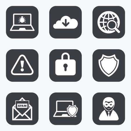 break in: Internet privacy icons. Cyber crime signs. Virus, spam e-mail and anonymous user symbols. Flat square buttons with rounded corners.