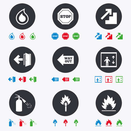 burn out: Fire safety, emergency icons. Fire extinguisher, exit and stop signs. Elevator, water drop and match symbols. Flat circle buttons with icons.