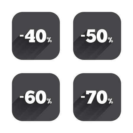 50 to 60: Sale discount icons. Special offer price signs. 40, 50, 60 and 70 percent off reduction symbols. Square flat buttons with long shadow.