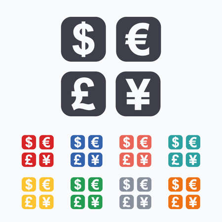 converter: Currency exchange sign icon. Currency converter symbol. Money label. Colored flat icons on white background.