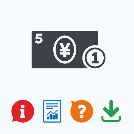 jpy: Cash sign icon. Yen Money symbol. JPY Coin and paper money. Information think bubble, question mark, download and report. Illustration