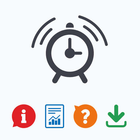 think up: Alarm clock sign icon. Wake up alarm symbol. Information think bubble, question mark, download and report.
