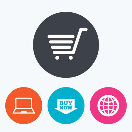 Online shopping icons. Notebook pc, shopping cart, buy now arrow and internet signs. WWW globe symbol. Circle flat buttons with icon. Illustration