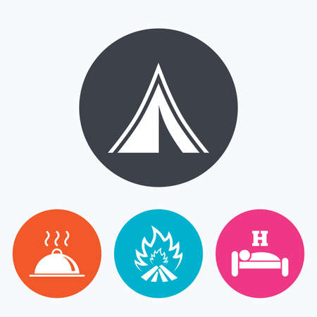 breakfast in bed: Hot food, sleep, camping tent and fire icons. Hotel or bed and breakfast. Road signs. Circle flat buttons with icon.