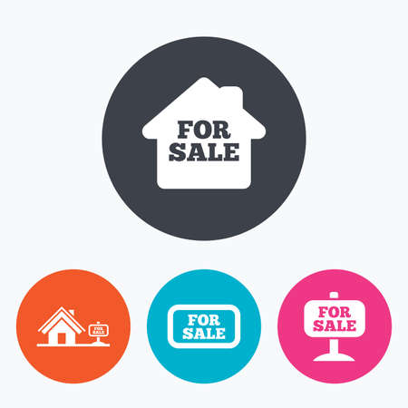 house for sale: For sale icons. Real estate selling signs. Home house symbol. Circle flat buttons with icon. Illustration