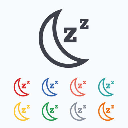 zzz: Sleep sign icon. Moon with zzz button. Standby. Colored flat icons on white background.
