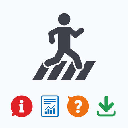 crossing street: Crosswalk icon. Crossing street sign. Information think bubble, question mark, download and report. Illustration