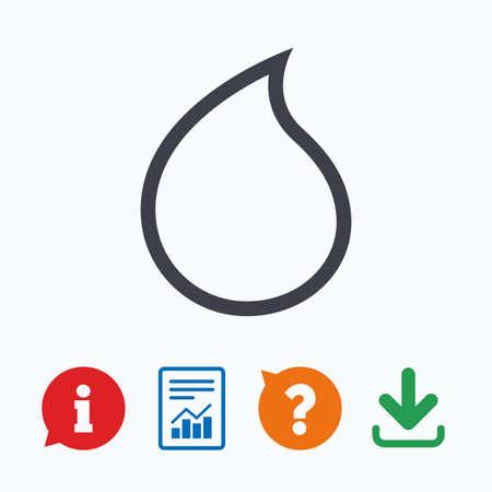 lagrimas: gota de agua icono de la muestra. símbolo de lágrima. Información pensar burbuja, signo de interrogación, la descarga y el informe.