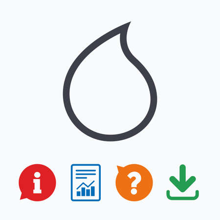lagrimas: Water drop sign icon. Tear symbol. Information think bubble, question mark, download and report.