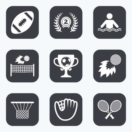 fire place: Sport games, fitness icons. Football, golf and baseball signs. Swimming, rugby and winner medal symbols. Flat square buttons with rounded corners.