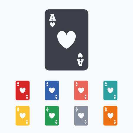 ace of hearts: Casino sign icon. Playing card symbol. Ace of hearts. Colored flat icons on white background. Illustration