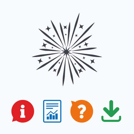 pyrotechnic: Fireworks sign icon. Explosive pyrotechnic show symbol. Information think bubble, question mark, download and report.