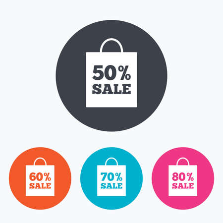 50 to 60: Sale bag tag icons. Discount special offer symbols. 50%, 60%, 70% and 80% percent sale signs. Circle flat buttons with icon.