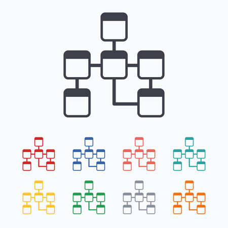 relational: Database sign icon. Relational database schema symbol. Colored flat icons on white background.