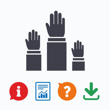 think up: Election or voting sign icon. Hands raised up symbol. People referendum. Information think bubble, question mark, download and report.