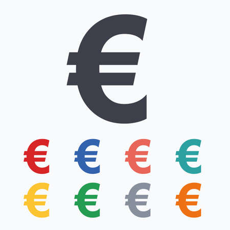 Euro Sign Icon Eur Currency Symbol Money Label Colored Flat
