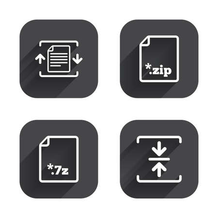 zipped: Archive file icons. Compressed zipped document signs. Data compression symbols. Square flat buttons with long shadow.