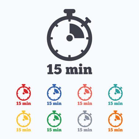 Timer sign icon. 15 minutes stopwatch symbol. Colored flat icons on white background. Ilustração