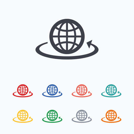arrow button: Globe sign icon. Round the world arrow symbol. Full rotation. Colored flat icons on white background.