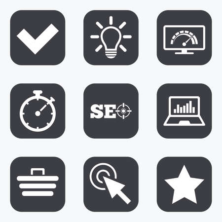 tick symbol: Internet, seo icons. Bandwidth speed, online shopping and tick signs. Favorite star, notebook chart symbols. Flat square buttons with rounded corners.