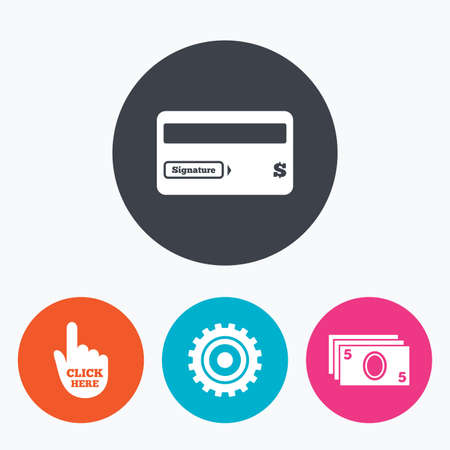 bank withdrawal: ATM cash machine withdrawal icons. Insert bank card, click here and check PIN, processing and get cash symbols. Circle flat buttons with icon.