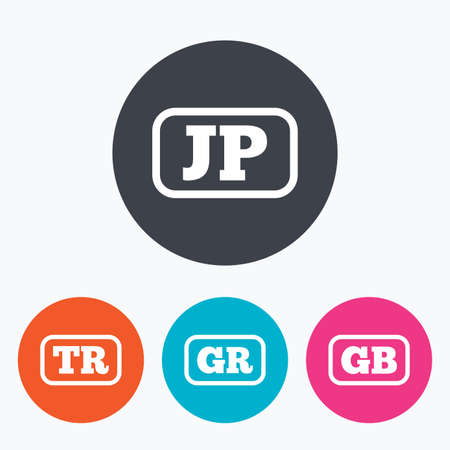 tr: Language icons. JP, TR, GR and GB translation symbols. Japan, Turkey, Greece and England languages. Circle flat buttons with icon.